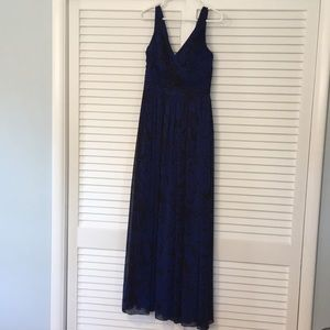 evening gown with pleated bodice detailing